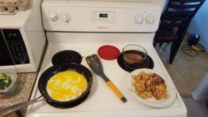 I fry up 10 eggs and pack them. I fry up some beef and pack it. Or eat it right there!